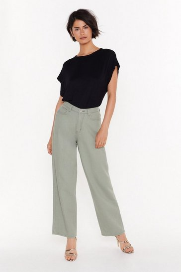 Sage Searched Far and Wide-Leg Denim Jeans