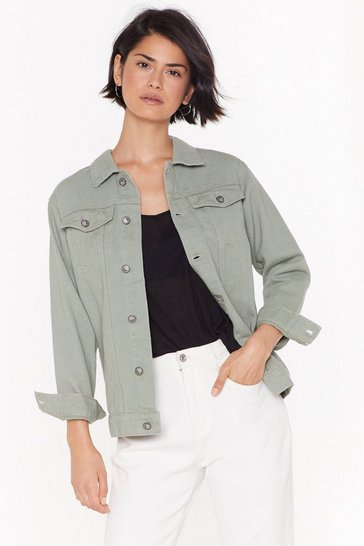 Womens Sage It's Not Oversized Denim Jacket