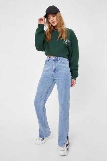 Acid wash light blue High Waisted Split Hem Straight Leg Jeans