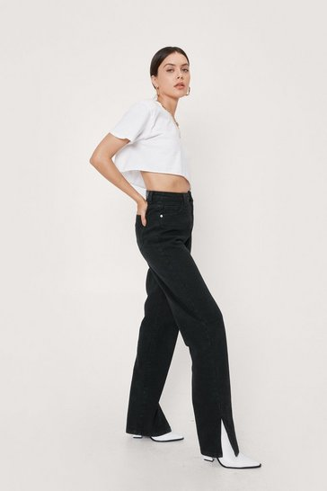 Black High Waisted Split Hem Straight Leg Jeans