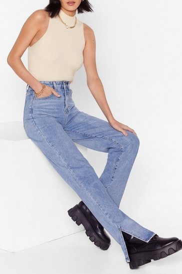 Light blue High Waisted Split Hem Straight Leg Jeans