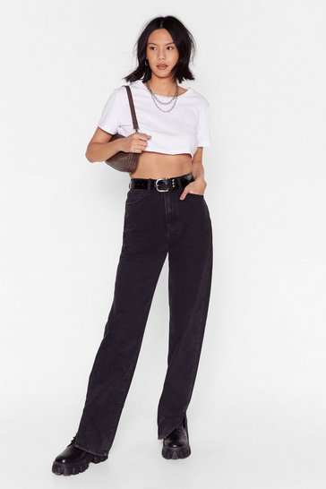 Washed black High Waisted Split Hem Straight Leg Jeans