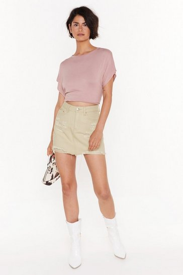 Womens Cream All the Things She Shred Distressed Denim Skirt