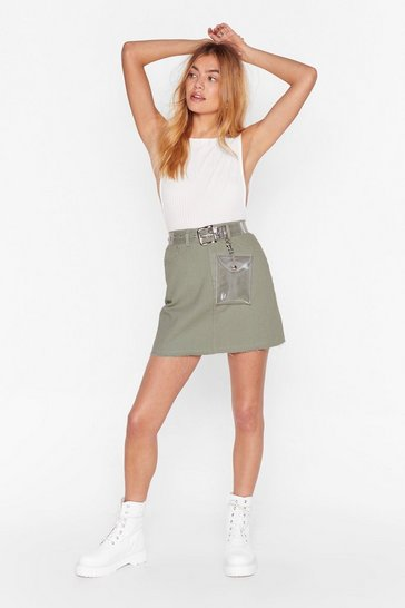 Womens Sage Nothing Left to Fray Distressed Denim Skirt