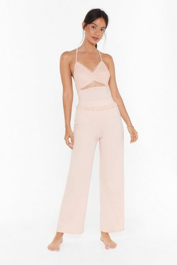 Womens Rose Invest in Rest Wide-Leg Pajama Pants