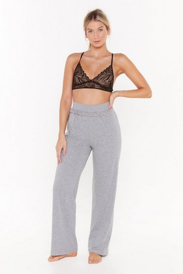 Womens Grey Invest in Rest Wide-Leg Pajama Pants