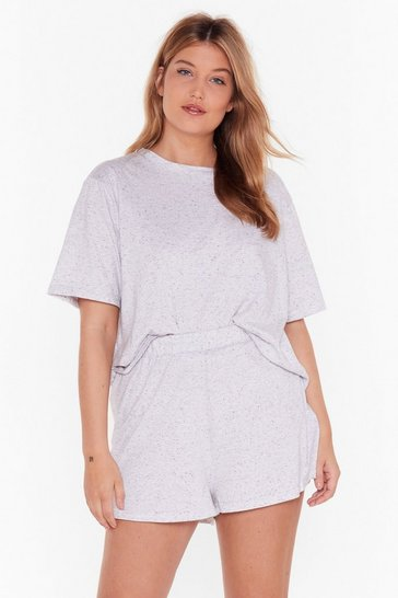 Womens Grey marl Waitin' on the Weekend Plus Pajama Tee