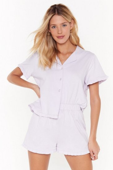 Womens Lilac Frill in Bed Ruffle Pyjama Short Set