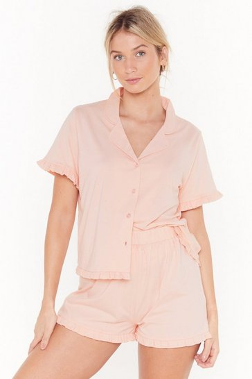 Womens Rose Frill in Bed Ruffle Pajama Short Set