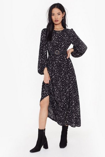 Womens black star print balloon sleeve maxi dress