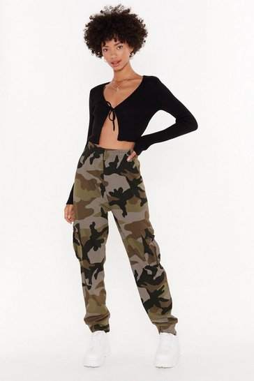 Womens Khaki Nowhere to be Seen Camo Cargo Joggers