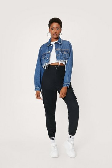 Black Pocket High Waisted Cargo Trousers