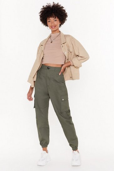 Khaki High-Waisted Utility Pants with Zip Closure