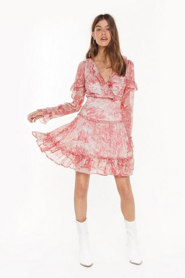 Womens Red Set the Scene Porcelain Ruffle Dress
