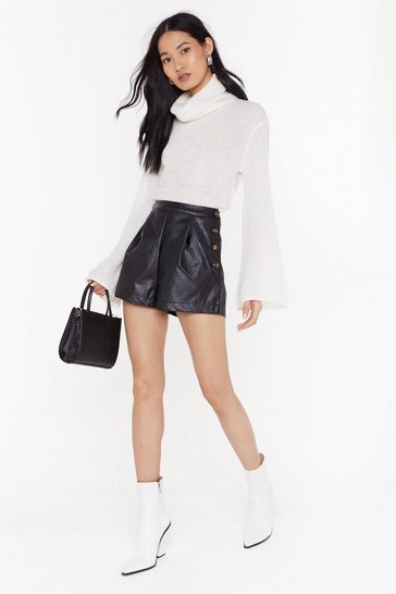 Womens Black Alcohol You Later Faux Leather High-Waisted Shorts