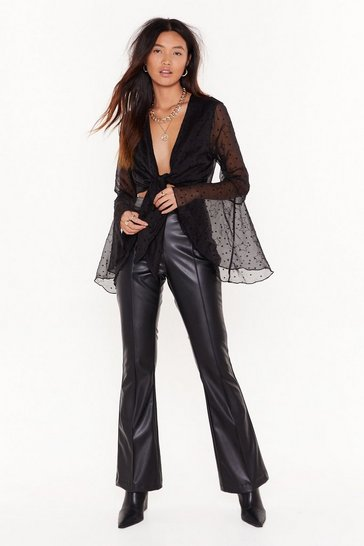 Black Changes Like the Faux Leather High-Waisted Flared Pants