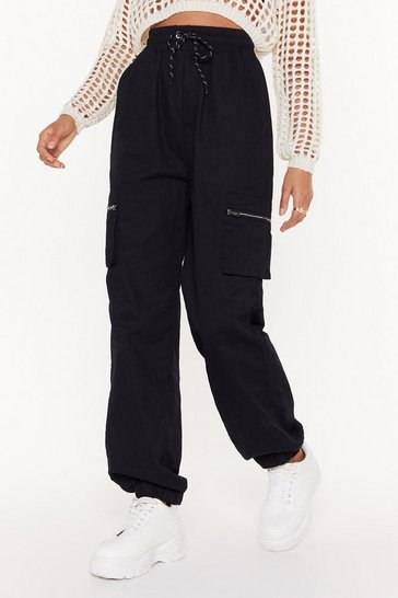Womens Black Drawstring in Close Cargo Pants