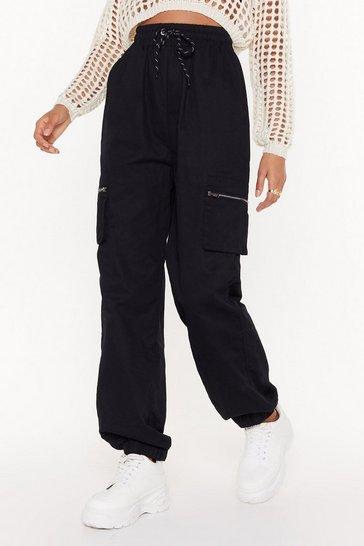 Black Drawstring in Close Cargo Pants