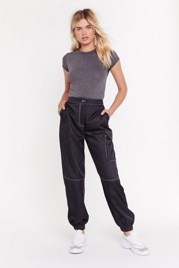 Womens Black Going Stitch Way Satin Cargo Pants