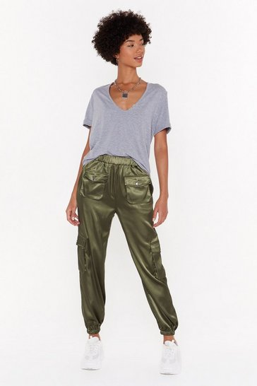 Womens Khaki Can't Let Cargo Satin Cargo Pants