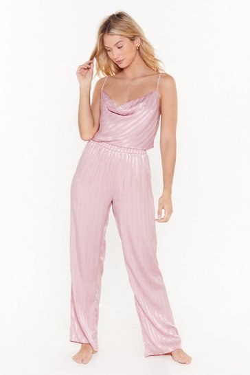 Womens Mauve Cowl About Chill Satin Stripe Pajama Pants Set