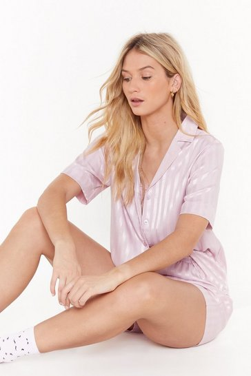 Womens Mauve Staying Stripe Here Satin Pajama Short Set