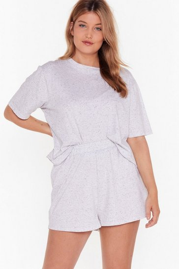 Womens Grey marl Waitin' on the Weekend Plus Pajama Shorts