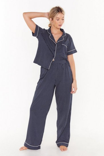 Womens Navy Save Me a Spot Polka Dot Pajama Pants Set