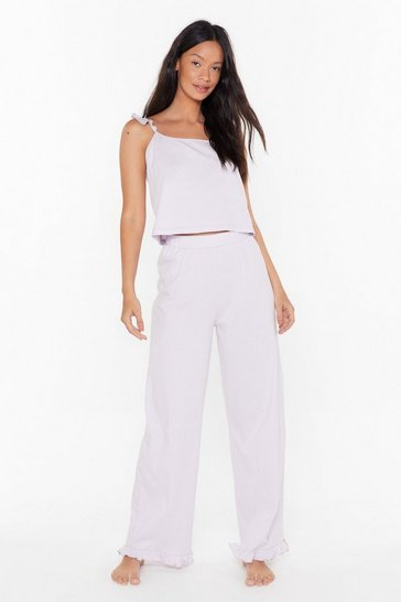 Womens Lilac Frill in Bed Ruffle Pajama Pants Set