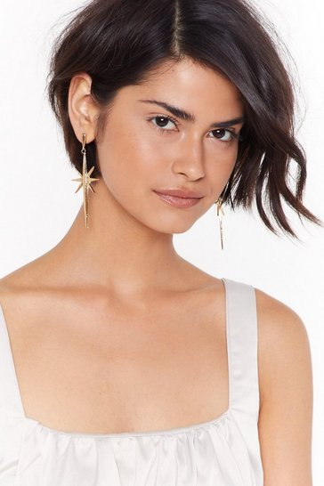 Womens Gold Take Me to the Nearest Star Drop Earrings