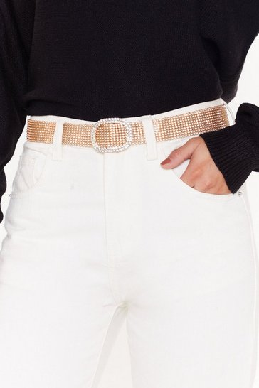 Womens Gold Material Girl Diamante Buckle Belt
