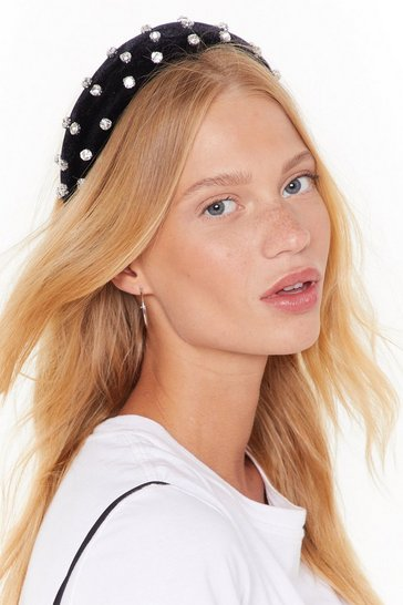 Womens Black Come Rain or Shine Embellished Velvet Headband