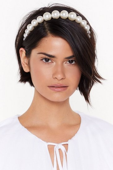 Womens White You Go Pearl Friend Chunky Embellished Headband