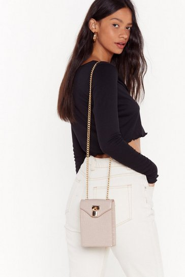 Womens Nude WANT Love on Croc Faux Leather Crossbody Bag