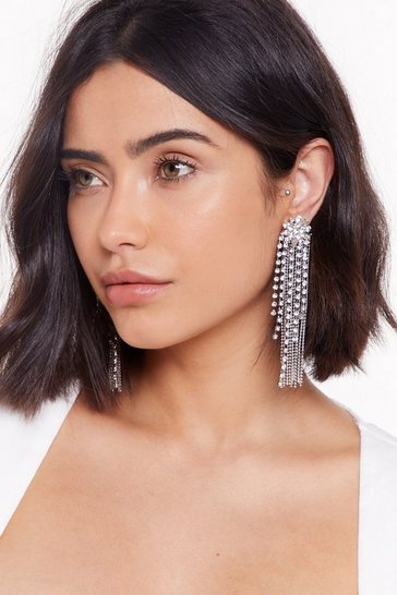 Womens Silver Shine On Diamante Drop Earrings