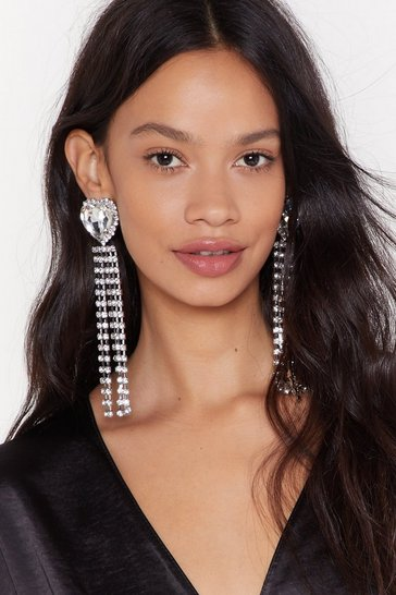 Womens Silver Queen of Hearts Diamante Drop Earrings
