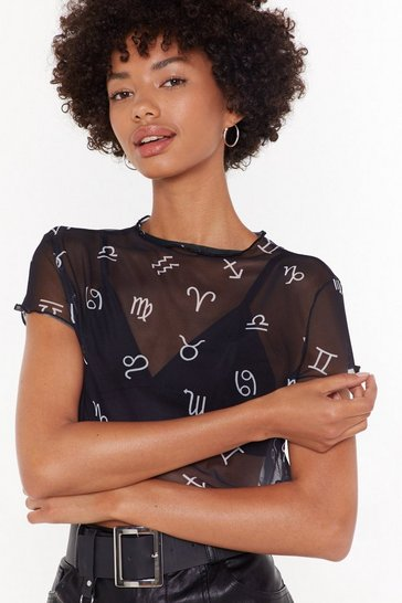 Womens Black Symbol Print Mesh Lettuce Edge Top