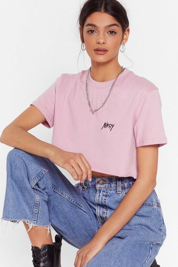 Rose Nasty Gal You Heard Crop Tee