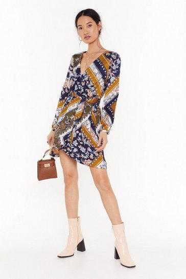 Mustard Mixin' Things Up Wrap Mini Dress
