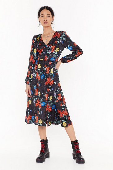 Womens Black Go With the Grow Floral Midi Dress
