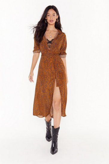 Womens Brown Leaf Me Out of It Leaf Midi Dress