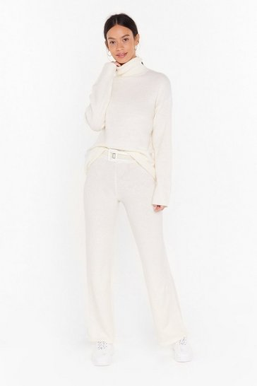 Ivory Get Knit Together Sweater and Wide-Leg Pants Set