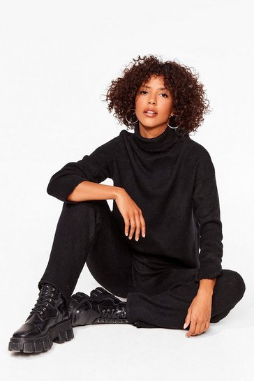 Black Get Knit Together Sweater and Wide-Leg Pants Set