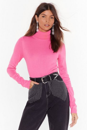 Womens Hot pink Play Your Roll Knit Turtleneck Sweater