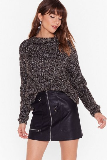 Womens Black Everything That Glitters Knitted Metallic Sweater