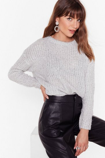 Womens White Everything That Glitters Knitted Metallic Jumper