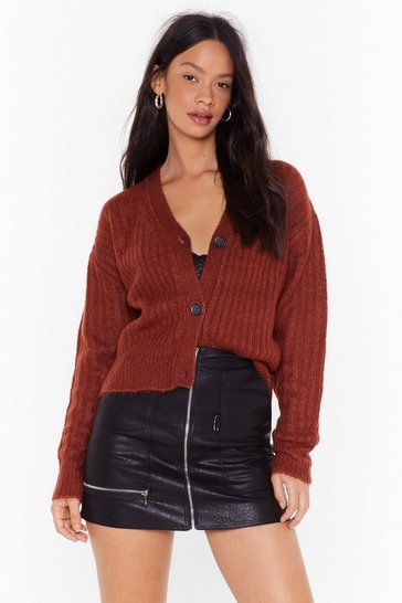 Womens Brown Over Knit Button-Down Ribbed Cardigan