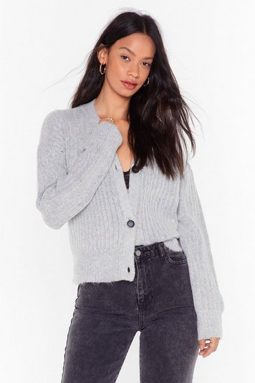 Womens Grey This is Knit Button-Down Cropped Cardigan