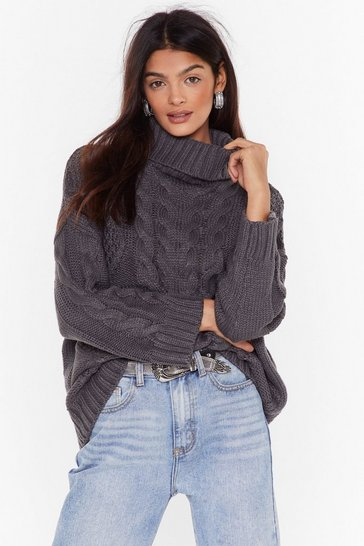 Womens Grey One Knit Wonder Turtleneck Sweater