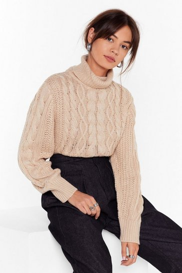Womens Beige Knit Back Cable Knit Sweater